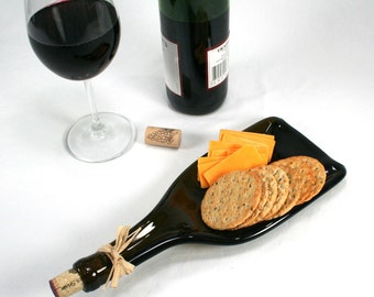 Dark Amber Molded Wine Bottle with Tapered Neck Serving Tray or Spoon Rest with Cork- Recycled Eco-Friendly
