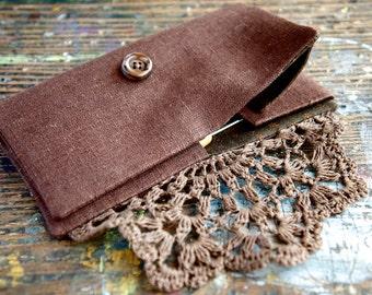 Linen Crochet Hook Case - Holder - Organizer -- brown