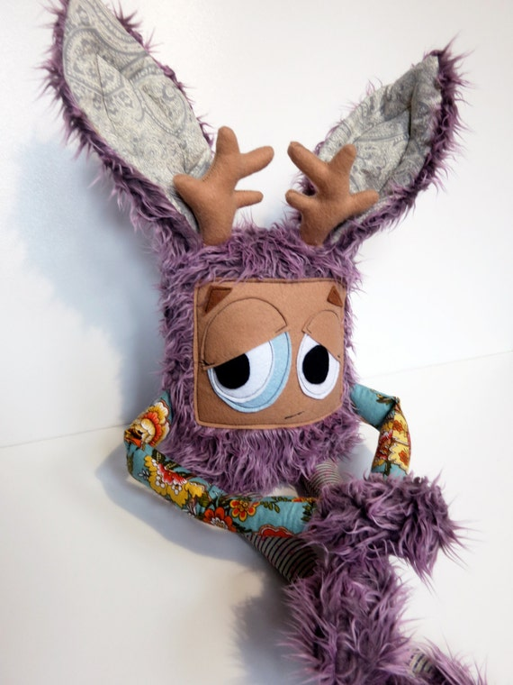 Hand Sewn Plush Jackalope Monster, Cute Furry Grumpy Doll, Great Gift ...