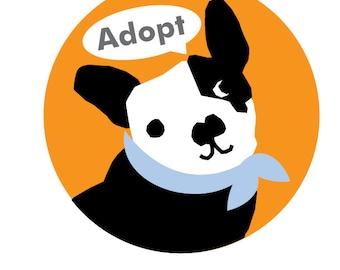 Bumper sticker adopt french bulldog circular sticker