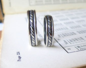 Unique Wedding Band Set Diagonal Scroll Pattern Oxidized Sterling Silver