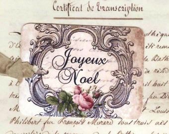 Christmas Gift Tags , Joyeux Noel , French Christmas Tags , Xmas Tags
