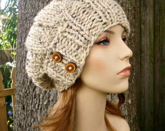 Knit Hat Womens Hat - Urchin Beret Hat With Button Flap in Oatmeal Knit Hat - Oatmeal Hat Oatmeal Beanie Oatmeal Beret Womens Accessories