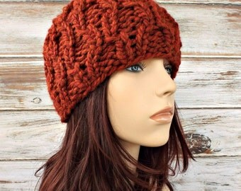 Burnt Orange Cable Beanie Knit Hat Womens Hat - Amsterdam Cable Beanie - Orange Hat Orange Beanie Womens Accessories Winter Hat