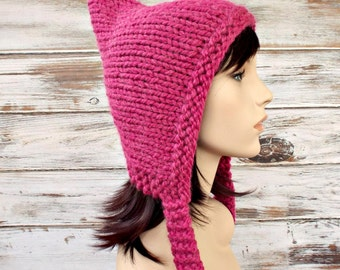 Pink Chunky Knit Hat Pink Womens Hat - Pink Pixie Hat Raspberry Pink Alpaca Blend Knit Hat - Pink Hat Womens Accessories Winter Hat