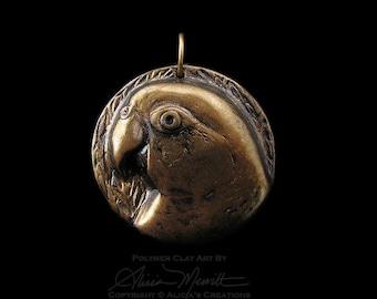 Unique Gold Finish Caique Medallion Clay Bird Art Parrot Pendant Faux Metal (no chain or cord)