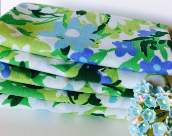 Vintage Sheet Fabric -  Fat Quarter - Retro White, Blue, and Green Flowers