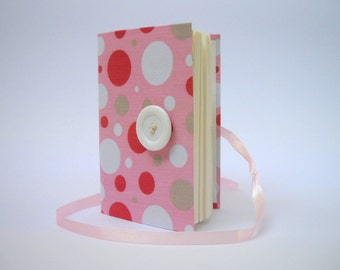 Pink Journal notebook diary Girls journal pink white dotted journal opens with White button and Pink ribbon, Girly journal diary for writing