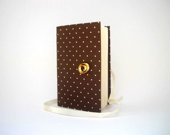 Brown dotted journal notebook diary lined paper, White tiny dots, Handmade journal for Personal writing Elegant Bridal gift Gold oval button