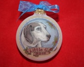My Favorite Dog, Portrait Personalized Ornament, Handpainted, Personalized From Your Photo, WITH DISPLAY STAND