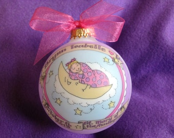 Baby Girl Baptism Ornament, Baby in the Moon Keepsake Personalized Ornament, Handpainted, and totally Original, with Display Stand