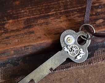 Clockwork Key Necklace - National Lock Key Rockford Illinois - Vintage Flat Key - Mens Necklace - Womens Necklace - Steampunk Jewelry