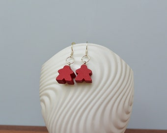 Red mini Carcassonne meeple earrings with silver earwire
