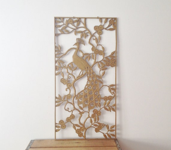 Peacock wall hanging gold resin vintage wall art wall for Resin wall art