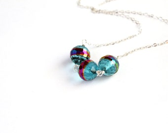Czech glass trio necklace. Sterling silver chain. Valentines Gift.  Triple bead. Minimalist. Sale. Free Shipping.