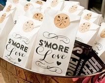 S'mores Wedding Favor Bags  - S'more love -  25 Tall White Bags