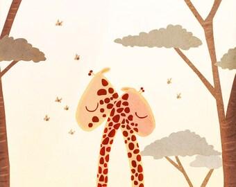 """Giraffe, I Love You, Giraffe Art, blank greeting card - """"Wild Love"""""""