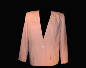 Vintage Women's 80s Jacket, Pink, Big Shoulders,  One Button, No Collar, Medium