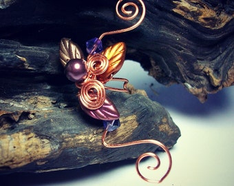 Ear Cuff Autumn Cornucopia, No Piercing, Fairy Jewelry, Fantasy Vine Wrap