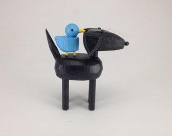 Black lab with bluebird buddy