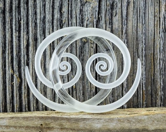 4G   Clear Seaglass   Spirals   Gauged Glass Body Jewelry for Stretched Piercings by Glassheart