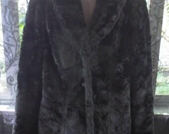 Vintage Black Plush Faux Fur Jacket Coat M/L Grunge Punk Gothic