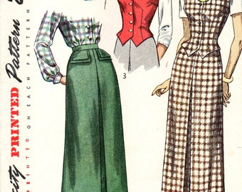 Simplicity 2720 Weskit and Skirt Pairing INVERTED PLEAT CENTERFRONT circa 1949