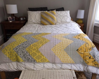 Custom Chevron Quilt, Throw Sized Patchwork Bedding Featuring Your Choice From Available Fabrics.  Professionally Quilted.  Designer Fabrics