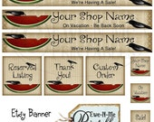 Pre-Made Etsy Banner & Avatar Set - Crow Watermelon (one of a kind)
