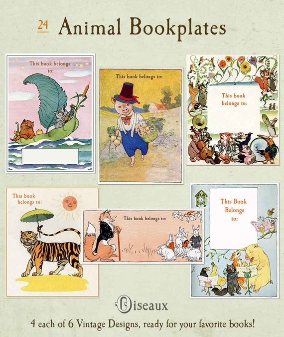 Vintage Bookplates - Assorted Animals BLANK Set - Stocking Stuffer