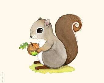 woodland nursery, squirrel print, squirrel painting, woodland animal, Animal alphabet print, woodland decor, woodland creature, watercolor
