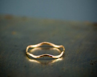 Solid 14k Gold Ring, Recycled Gold Ring, Wavy Ring, Hammered Rings, Thin Stacking Rings, Gold Mini Rings