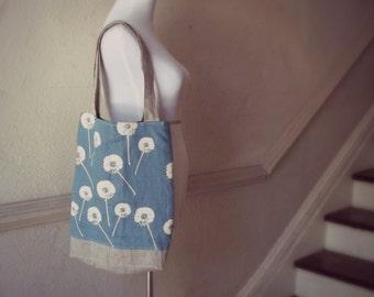 Cornflower Blue Linen Tote Dandelion Prints - Hand Printed  -  2 Pockets