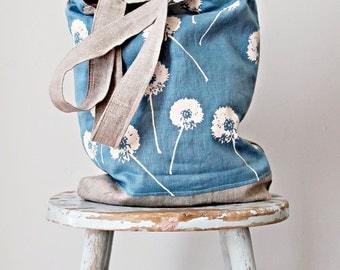 Blue White Linen Tote Dandelion Prints - Hand Printed  -  2 Pockets