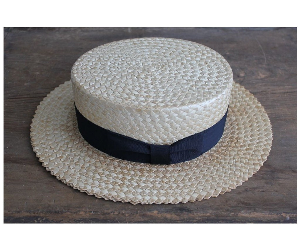Straw Boater Hat 1920s Hat Antique Straw Hat