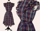 Vintage 70s Tartan Dress / Ruffle Tartan Dress / Plaid Ruffle Dress