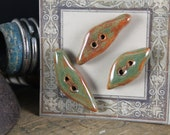 Handmade stoneware ceramic buttons Leaf Toggles (3)