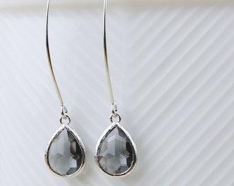 Charcoal Teardrop Earrings On Silver Ear Hooks