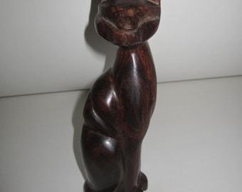 Wood Cat Sculpture - Dark Brown Modern Tribal Art - Home Decor - Vintage