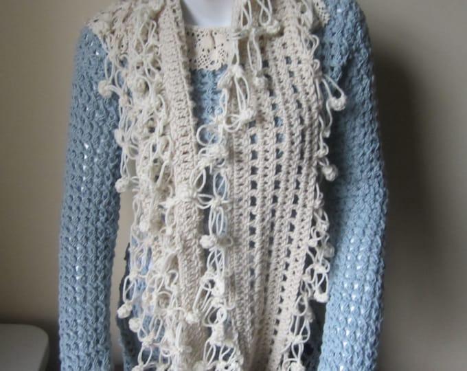 Crochet scarf, crochet infinity scarf, fringe scarf, fringe infinity scarf, Cream/ offwhite infinity scarf