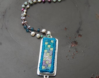 Patchwork Stitch Necklace - teal and green - needlepoint pendant - bead crochet