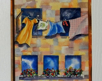 Clothesline Art, Original Washday Painting On Paper, 16 x 12 inches Matted, Hung Out To Dry, Italian Scene, Wash Day, Laundry Room Decor