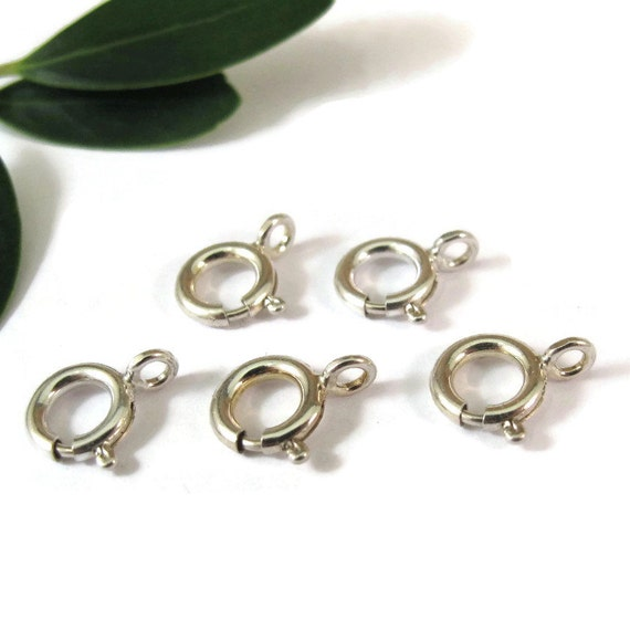 Five Silver Clasps, 8mm Silver Clasps, Set of Five .925 Sterling Silver Spring Rings with Closed Loop, Jewelry Supplies (F-1468s)