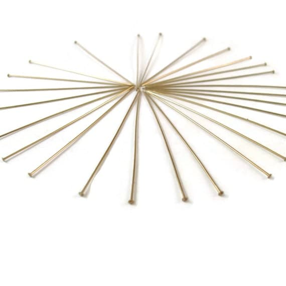 Thin Gold Headpins, 25 Gold Filled Headpins, 2 Inch, 24 Gauge, Gold Findings, Earring and Jewelry Supplies (F-404f)