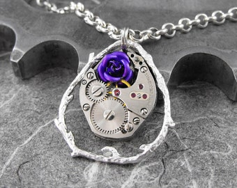 Steampunk Purple Rose Mechanism Necklace - Because She Is My Rose by COGnitive Creations