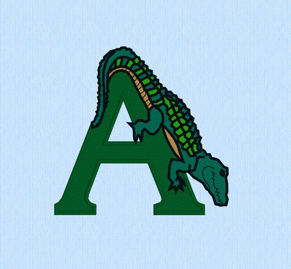 A is for Alligator machine embroidery design file