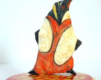 Vintage Tin Penguin in Formal Attire - Arctic Drama - Free USA Shipping