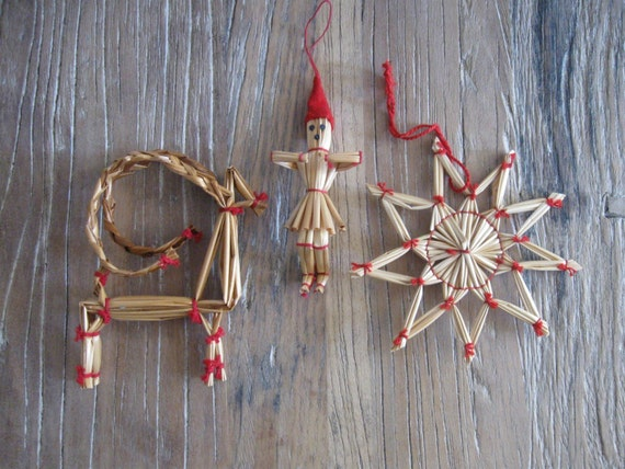 3 German Straw Christmas Ornaments