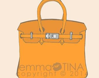 Hermes Birkin Orange Fashion Illustration Art Print