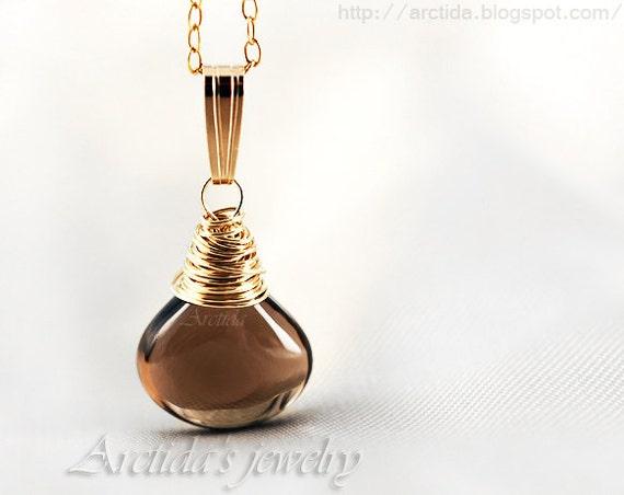 Brown necklace Smoky Quartz jewelry Smokey Quartz necklace earrings set 14K gold filled Smoky Topaz pendant chocolate brown rusteam - Laura
